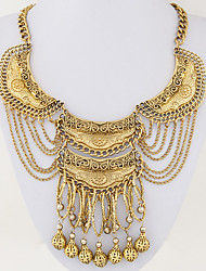 Women's European Style Ethnic Vintage Fashion Trend Metal Exaggerated Tassel Statement Necklace
