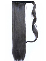 Black 60CM Synthetic High Temperature Wire Wig Straight Hair Ponytail Color 4A