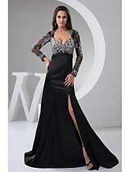 Formal Evening Dress A-line Sweetheart Sweep/Brush Train Stretch Satin