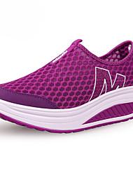 Women's Shoes Tulle Spring / Summer / Fall Wedges / Platform Slip-on Outdoor / Casual Wedge Heel Slip-onBlack / Blue / Purple / Red /