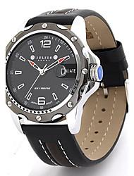 Мужской Модные часы Кварцевый Кожа Группа Черный / Коричневый марка