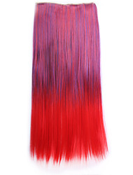 Ombre 55cm sintetico Perruque Straight Natural Hair Hairpiece Costume Synthetic Hair Clip In Hair Extensions Pad