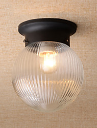 Retro Country Mini Style Flush Mount Ceiling Fixture with Frosted Glass Shade Kitchen Entry Hallway