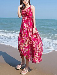 Women's Beach Boho Loose Dress,Floral Strap Maxi Sleeveless Red Polyester Summer