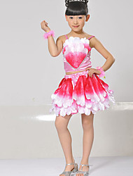 Performance Outfits Children's Performance Matte Satin Sequins 2 Pieces Fuchsia / Green / Yellow Performance Backless Sleeveless Natural