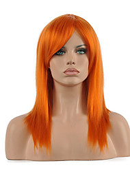 Hannah Anafeloz Orange Cosplay Wig Middle Long Straight Synthetic Wig.