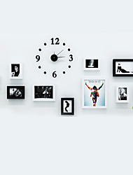 Black White Color Photo Wall Frame Collection Set of 10 with DIY a Wall Clock