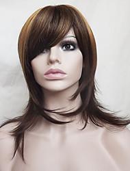 europa e os estados unidos novos destaques no cabelo longo perucas de cabelo de nylon marrom 16 polegadas de meia-idade ou mais velhos