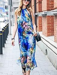 PRASE  Women's Boho Floral Swing Dress,Halter Midi Polyester
