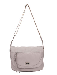 DAVIDJONES/Women Nylon Saddle Shoulder Bag / Cross Body Bag-Beige