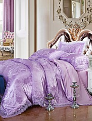 Bedding Set Purple Queen King Size Luxury Silk Cotton Blend Lace Duvet Cover Sets Jacquard Pattern
