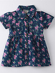 Girl's Floral Dress,Cotton Summer Blue
