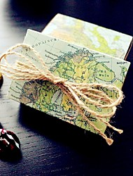 12 Piece/Set Favor Holder - Destination Love World Map Wedding Favor Box , Party Candy Boxes