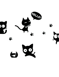Lovely Black Cats With Footprints Wall Stickers Removable Bedroom/Living Room/Notebook Wall Decals PVC