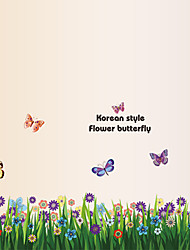 Removable Flowers With Grass Skirting Wall Stickers Butterfly Bedroom Stairs Wall Decals Environmental Wall Art
