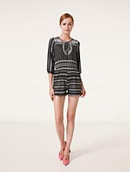 Women's Print Black Jumpsuits,Vintage / Casual / Day V Neck ¾ Sleeve