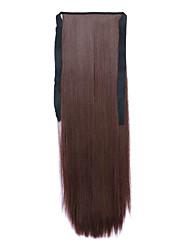 comprimento 60 centímetros marrom tipo de ligação sintética reta longa peruca de cabelo de rabo de cavalo (cor 33)
