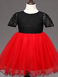 Vestido Chica de-Verano-Poliéster-Rojo