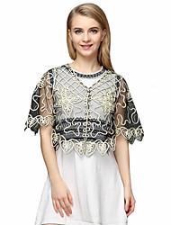 Women's Beach Street chic Summer Shirt,Solid V Neck ½ Length Sleeve White / Beige / Black / Yellow Polyester Translucent