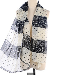 Polka Dot Chiffon Lace Stitching Color Long Scarf Shawl