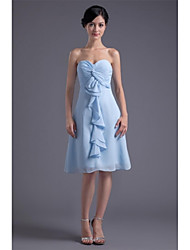 Knee-length Chiffon Bridesmaid Dress A-line Sweetheart with Side Draping