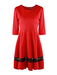 Women's Work Swing Dress,Solid Round Neck Above Knee ½ Length Sleeve Red / Gray Others Spring