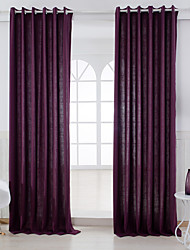 Two Panels Modern Solid Purple Bedroom Linen/Polyester Blend Panel Curtains Drapes
