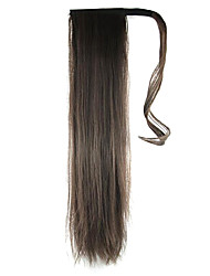 Length Dark Chocolate Wig Ponytail 60CM Synthetic Straight High Temperature Wire Color 6