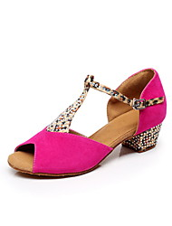 Non Customizable Women's Dance Shoes Leather Leather Latin Heels Stiletto Heel Performance Multi-color