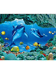 JAMMORY 3D Wallpaper Contemporary Wall Covering,Canvas Stereoscopic Large Mural Blue Dolphin Submarine
