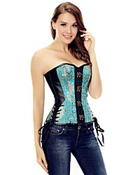 YUIYE® PU Leather Corset Overbust Shapewear Bustier Corset Cincher Leather Slim Shape Womens Waist Blue Plus Size