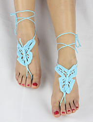 Women's Handmade Crochet Cotton Fashion Ankle Chain Anklet Butterfly Barefoot Sandals
