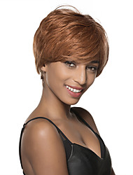 Puffy Short Straight Monofilament Top Human Hair Wig