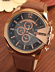 Men's Large Gold Case Leather Band Analog Cool Watch Jewelry Gift Wrist Watch Cool Watch Unique Watch