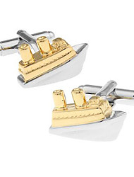 Men's Fashion Gold Ship Style Alloy French Shirt Cufflinks (1-Pair)