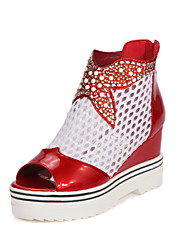 Women's Shoes PU / Synthetic Wedge Heel Wedges  / Comfort / Open Toe Sandals Casual Black / Pink / Red / Silver