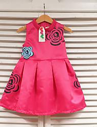 Girl's Red Dress,Print Polyester Summer
