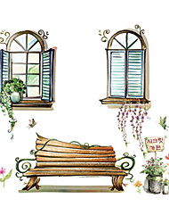 Window Scenery Glass Wall Stickers PVC Removable Fashion Flower Wall Decals