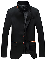 Men's Fashion Mandarin Collar Casual Two Button Slim Fit Blazer,Polyester/Plus Size/Casual