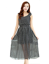 2016 Summer Women Polka Dot Chiffon Dress