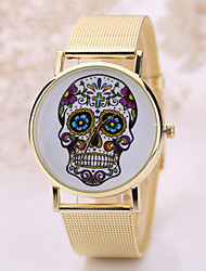 Women/Men's Stainless Steel Gold Band Analog Skull Case  Wrist Watch Jewelry