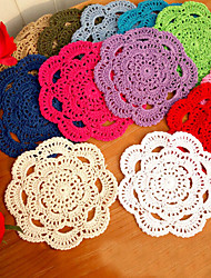 "16cm(6.2"") 20pcs/lot 100% Cotton Tableware Crochet Doilies Coasters Cup Mat Placemat Novelty Wedding Accessaries"