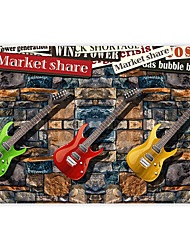 Vintage Shinny Leather Effect Large Mural Wallpaper Colourful Guitar Brick Art Wall Decor Wall Paper