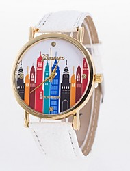 Ladies' Casual Watch Geneva City Printing Wind Dial PU Strap
