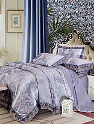 Light Purple Queen King Size Bedding Set Luxury Silk Cotton Blend Lace Duvet Cover Sets Jacquard Pattern