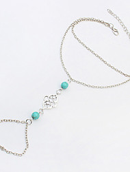 Women's European Style Fashion Twisted Knot Blue Beads Anklet with Ring