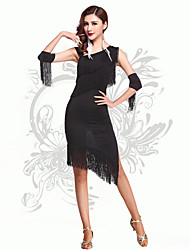 Robes(Noire,Elasthanne,Danse latine)Danse latine- pourFemme Frange (s) Spectacle Danse latine Taille haute