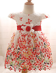 Girl's Blue / Red Dress,Floral Cotton / Polyester Summer