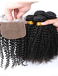7A Grade Slove Hair Products Brazilian Kinky Curly Hair Extensions 4pcs Afro Kinky Curly Bundles with Silk Base Closure