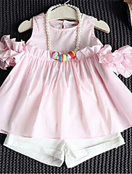 Girl's Casual/Daily Solid Clothing Set,Cotton Summer / Spring Pink / Yellow